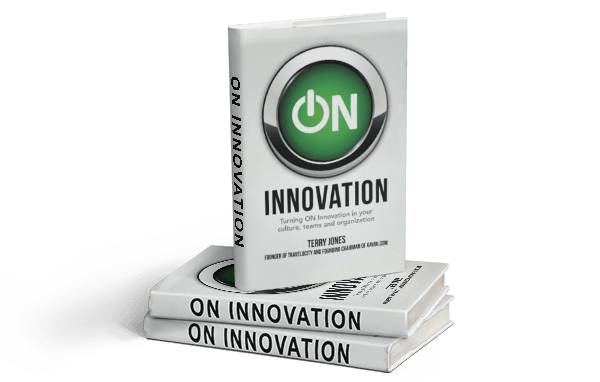 Terrys book innovation ON arragned in a neat stack